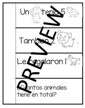 Interactive Notebook Word Problems in Spanish