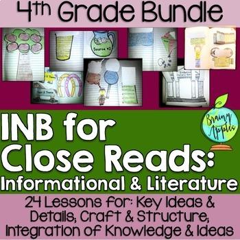 Close Reading Bundle Interactive Notebook 4th Grade Literature Informational