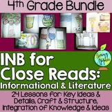 Close Reading Bundle Interactive Notebook 4th Grade Literature Informational