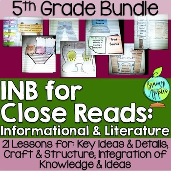 Close Reading Bundle Interactive Notebook 5th Grade Literature Informational