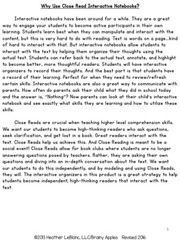 Close Reading Informational Text Interactive Notebook 2nd Grade