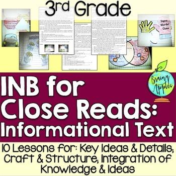 Close Reading Informational Text Interactive Notebook 3rd Grade