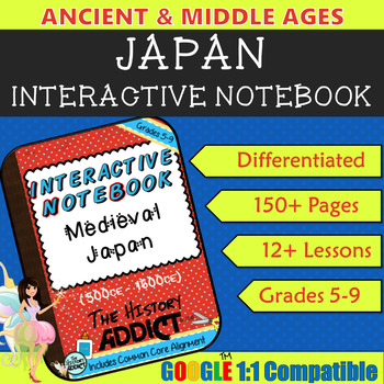 Interactive Notebook for Middle Ages Japan (Medieval Japan) ~ Common Core 5-9