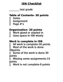 Interactive Notebook grading sheet