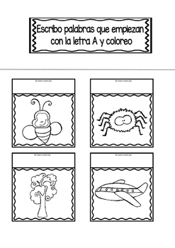 Interactive Notebook in Spanish - Letter A - FREEBIE