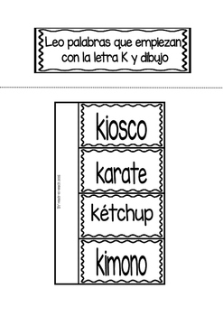 Interactive Notebook in Spanish - Letter K