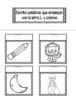 Interactive Notebook in Spanish - Letter L