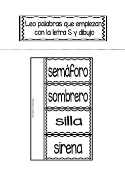 Interactive Notebook in Spanish - Letter S