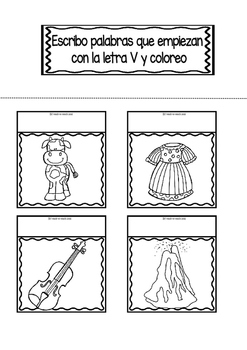 Interactive Notebook in Spanish - Letter V