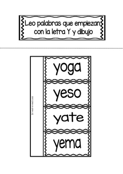 Interactive Notebook in Spanish - Letter Y