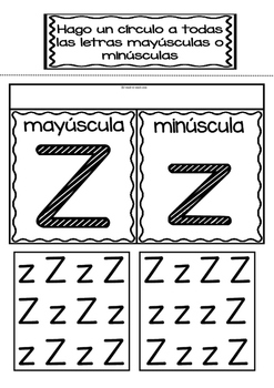 Interactive Notebook in Spanish - Letter Z