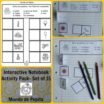 Interactive Notebook or Vocab Practice Activity Pages Set of 15 Spanish