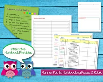 Interactive Notebooking Printable Planner Pages Classroom Homeschool Teacher