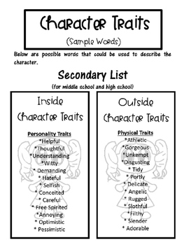Interactive Notebooks - Character Traits