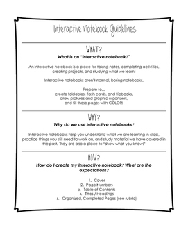 Interactive Notebooks Guidelines and Rubric
