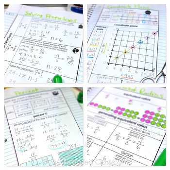 6th Grade Math Ratios and Proportions Interactive Notebooks