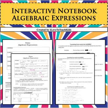 Interactive Notebook Notepage Algebraic Expressions Order