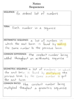 Interactive Notebook Notepage Arithmetic & Geometric Sequences Lesson