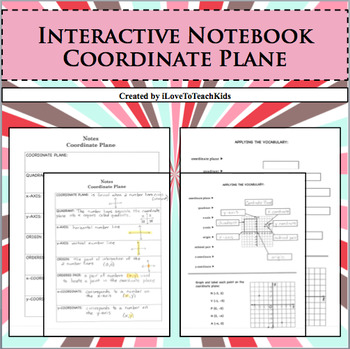 Interactive Notebook Notepage Coordinate Plane Integers Nu