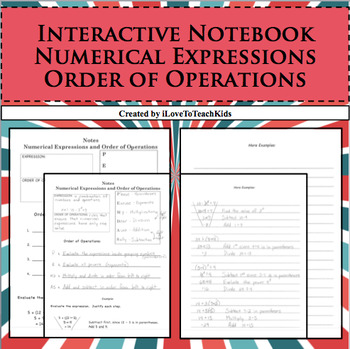 Interactive Notebook Notepage Numerical Expressions & Order of Operations PEMDAS
