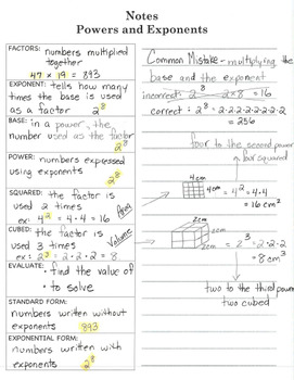 Interactive Notebook Notepage Positive Powers & Exponents Lesson Activity