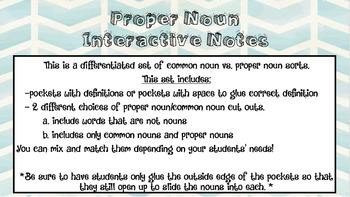 Interactive Notes Common vs Proper Nouns