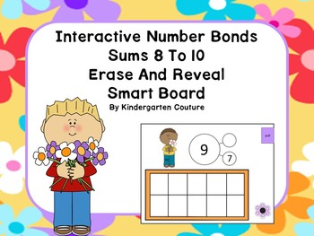 Interactive Number Bonds Sums 8 To 10 Erase And Reveal For Smart Board