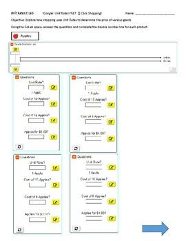 Interactive Online ELab Simulations Lab Sheet - Shopping Unit Rates Lab