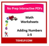 Interactive PDF Worksheet - Adding Single Digit Numbers 1-5