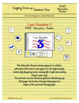 Interactive PEWE Reader - I am Number 3 - Emergent - Autism, PreK & Kindergarten