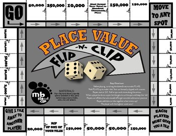PLACE VALUE GAME activity JUST PRINT AND PLAY