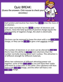 Interactive and Animated POWERPOINT ATOMS AND STATIC ELECTRICITY