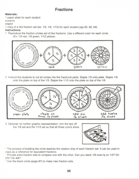 Interactive Paper Plate Fractions Equivalent Fractions