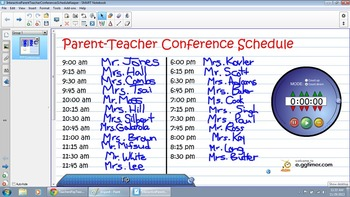 Interactive Parent Teacher Conferences Schedule Keeper