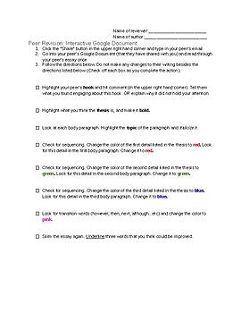 Interactive Peer Revision Sheet