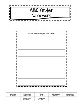 Back to School ABC Order Word Work