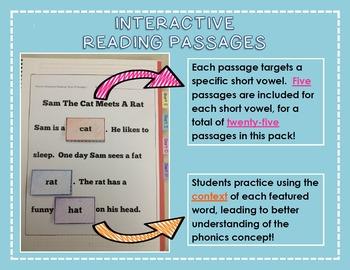 Interactive Phonics Reading Passages: Short Vowel CVC Edition