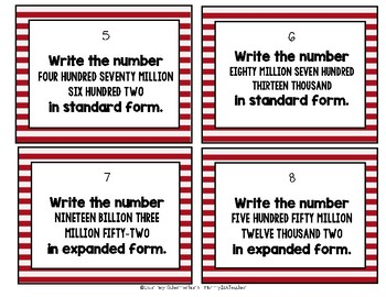 Place Value to Billions Task Card Activity/Assessment