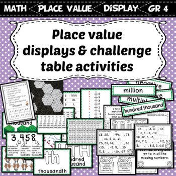 Interactive Place Value Displays & Challenge Table Activities Grade 4 Number