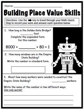 Interactive Place Value Math Quest - Web-based Activity CCSS 3rd Grade