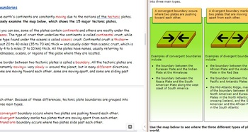 Interactive Plate Tectonics Webquest, Vocabulary Contract, and Quizzes