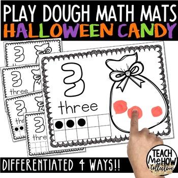 Interactive Play Dough Math Centers: Differentiated Halloween Mats {Prek-1}