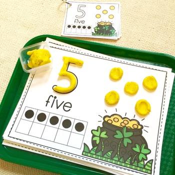 Math Centers: Play Dough Mats, St. Patrick's Day, Gold Coins {Prek-1}
