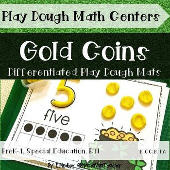 Math Centers: Play Dough Mats, St. Patrick's Day, Gold Coi