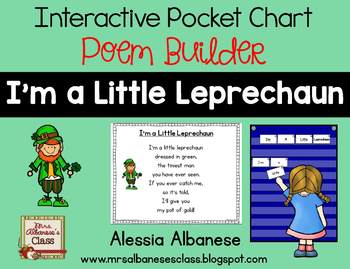 Interactive Pocket Chart {Poem Builder} - I'm a Little Leprechaun
