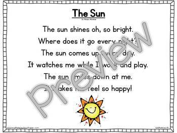 Interactive Pocket Chart {Poem Builder} - The Sun