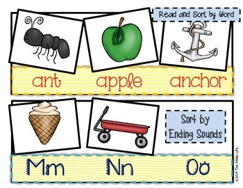 Interactive Pocket Chart:78 cards & 52 strips to sort by beg/end sounds & words