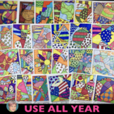 """""""Pop Art"""" Interactive Coloring Sheets+Writing: All Year BUNDLE w/ Valentines Day"""
