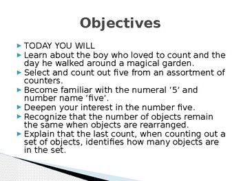 Interactive PowerPoint for teaching the number five.