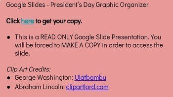 Interactive President's Day Google Slides Graphic Organizer